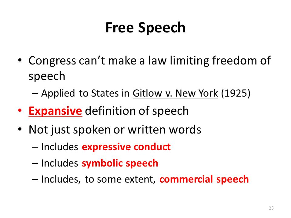 Free Speech Congress can't make a law limiting freedom of speech