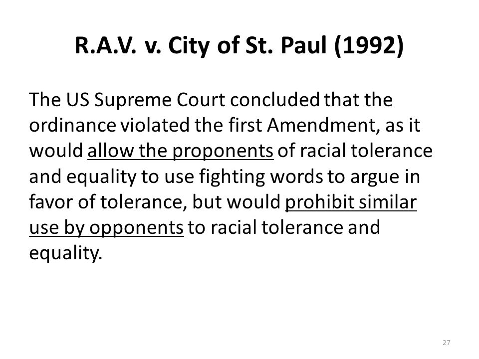 R.A.V. v. City of St. Paul (1992)