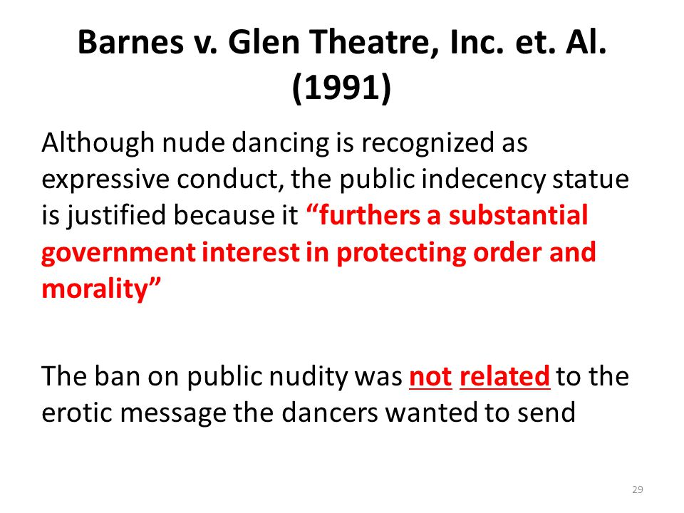Barnes v. Glen Theatre, Inc. et. Al. (1991)