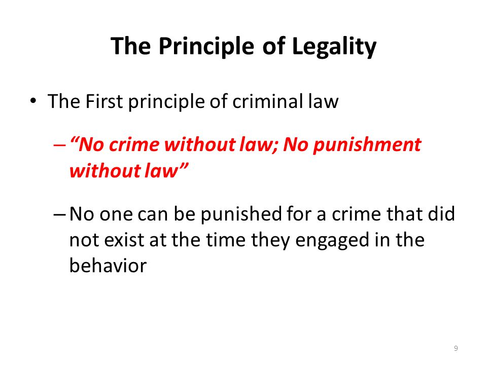 The Principle of Legality