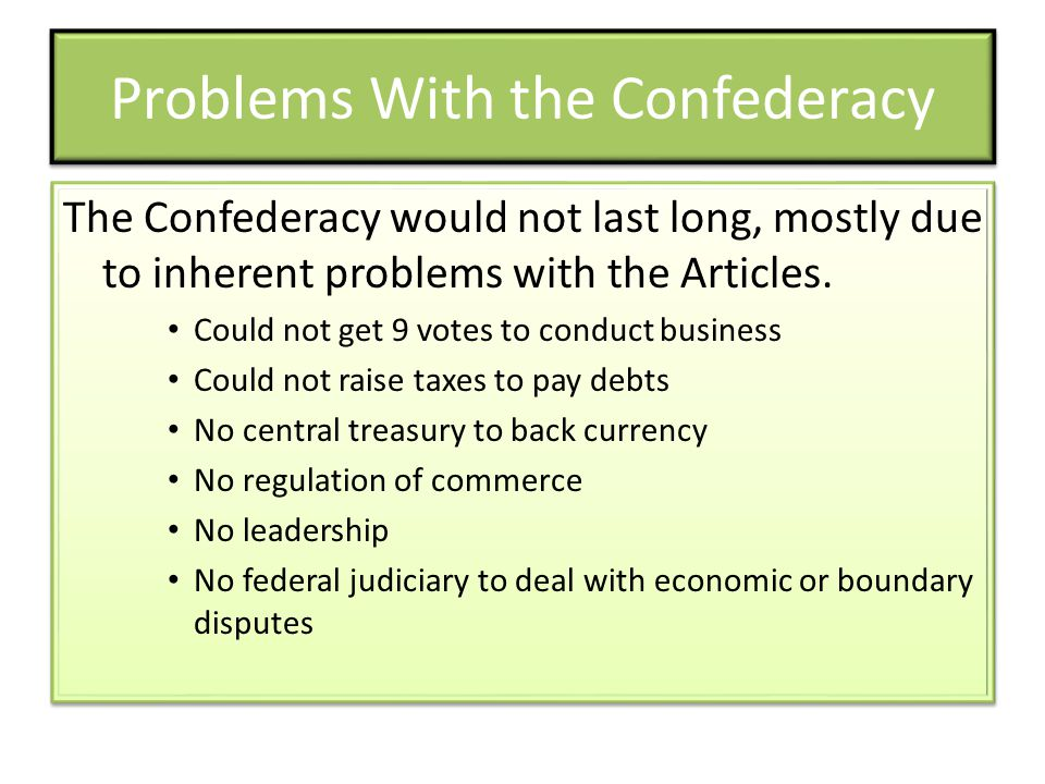 Problems With the Confederacy