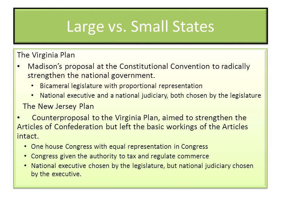 Large vs. Small States The Virginia Plan