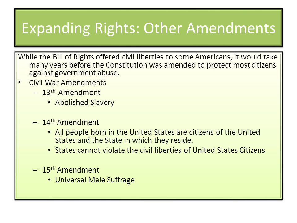 Expanding Rights: Other Amendments