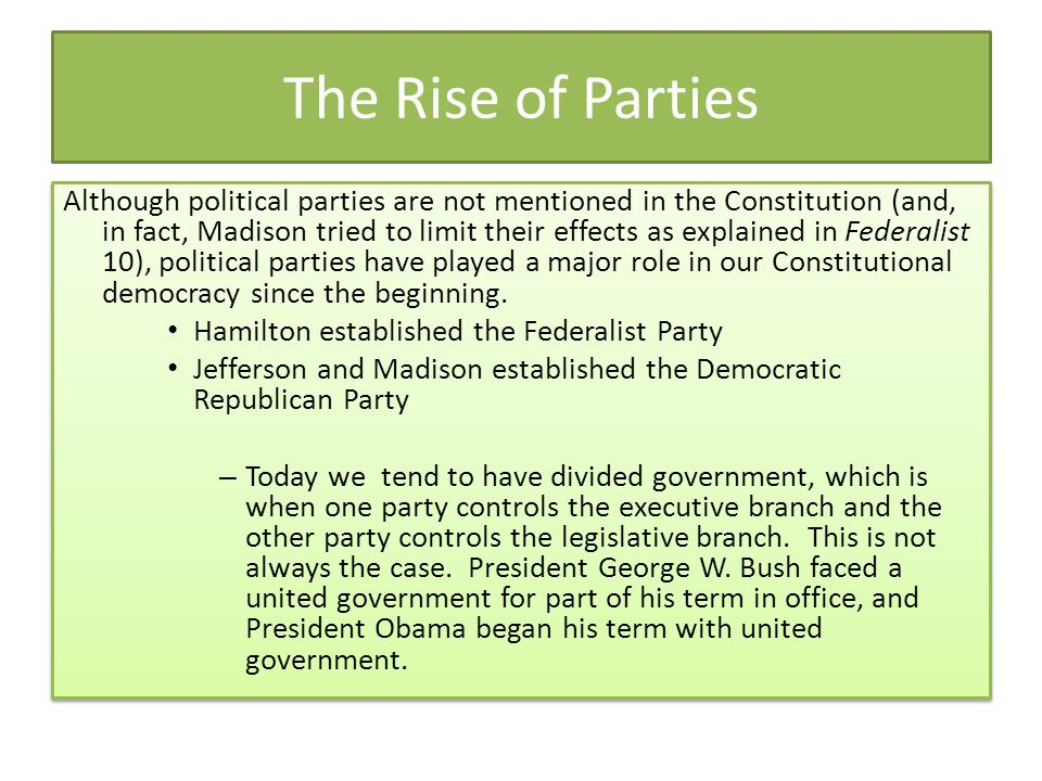 The Rise of Parties
