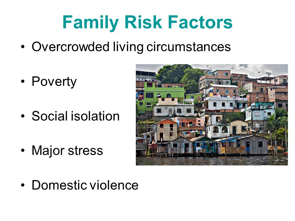 Family Risk Factors Overcrowded living circumstances Poverty
