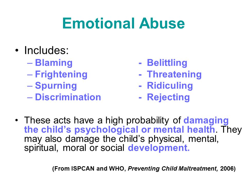 Emotional Abuse Includes: Blaming - Belittling
