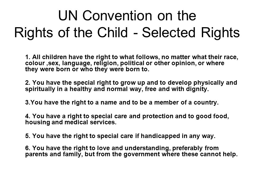 UN Convention on the Rights of the Child - Selected Rights