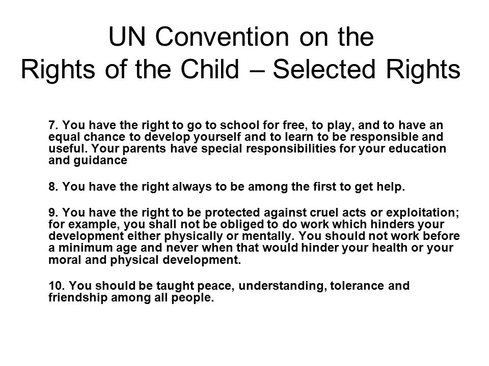 UN Convention on the Rights of the Child – Selected Rights