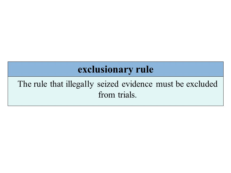 The rule that illegally seized evidence must be excluded from trials.