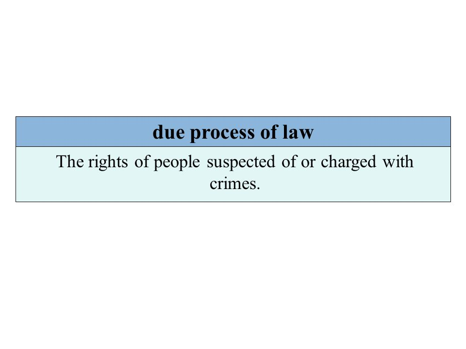 The rights of people suspected of or charged with crimes.