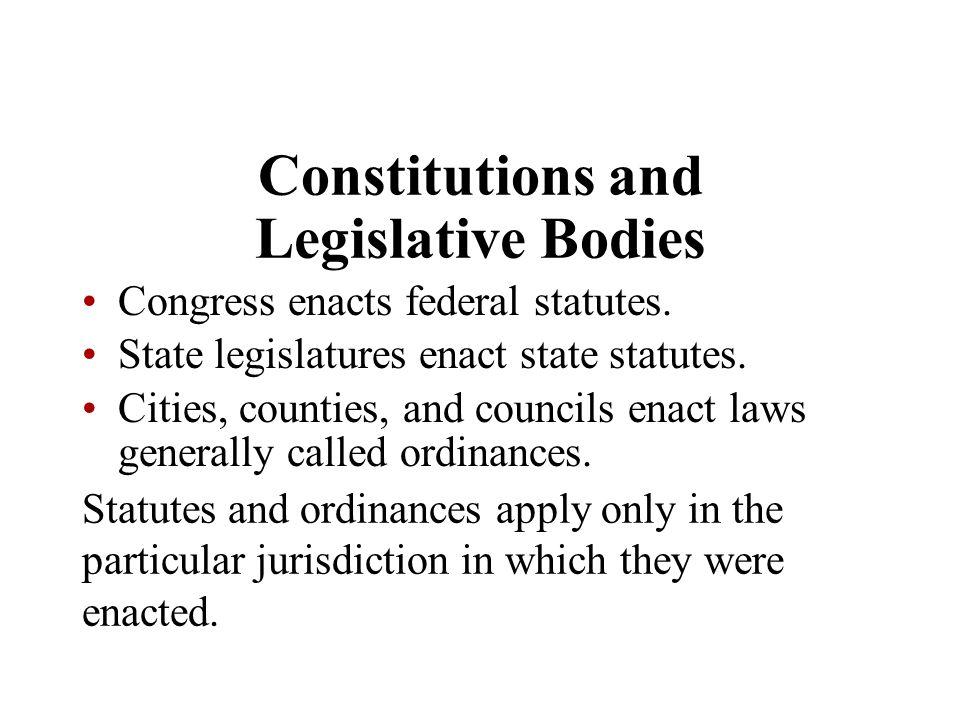 Constitutions and Legislative Bodies