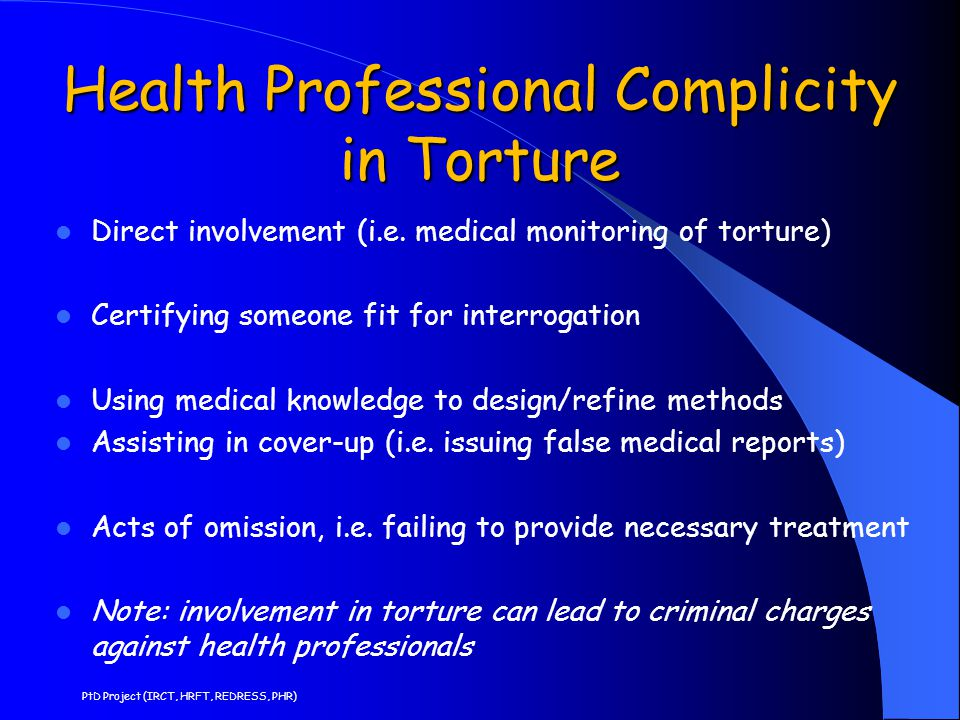 Health Professional Complicity in Torture
