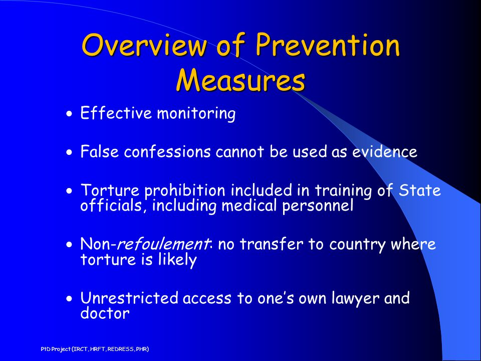 Overview of Prevention Measures