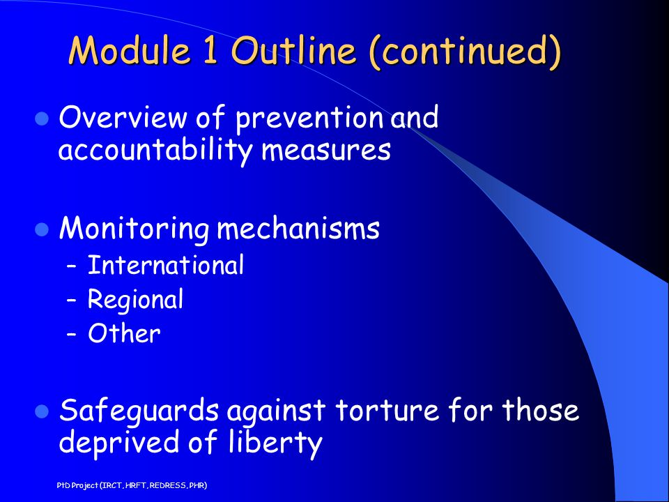 Module 1 Outline (continued)