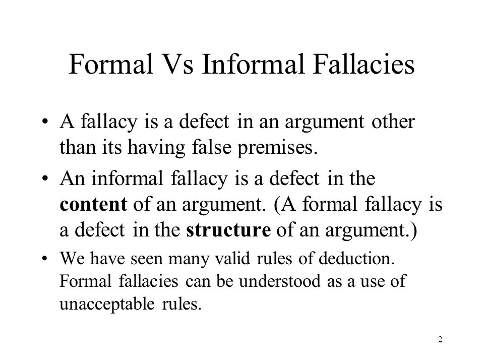 Formal Vs Informal Fallacies