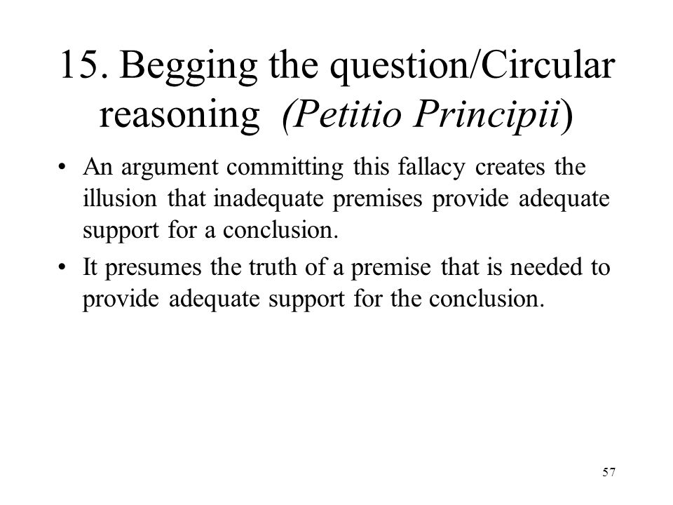 15. Begging the question/Circular reasoning (Petitio Principii)