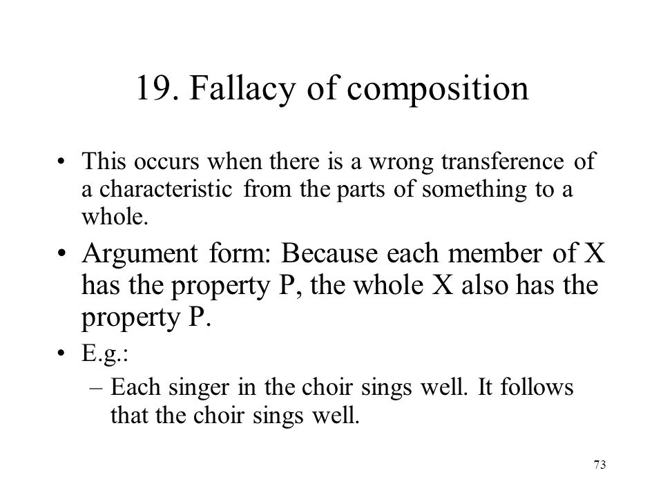 19. Fallacy of composition