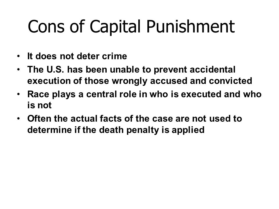 Cons of Capital Punishment