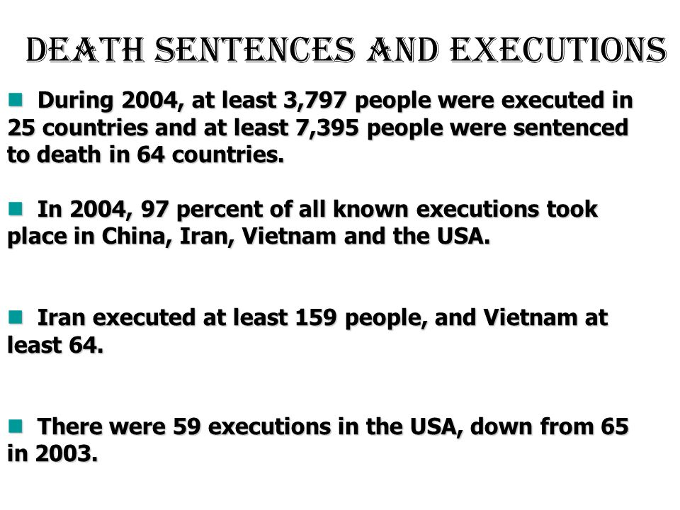 Death sentences and executions