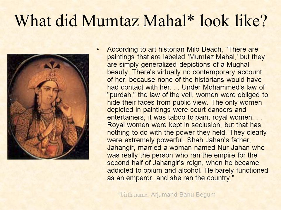What did Mumtaz Mahal* look like