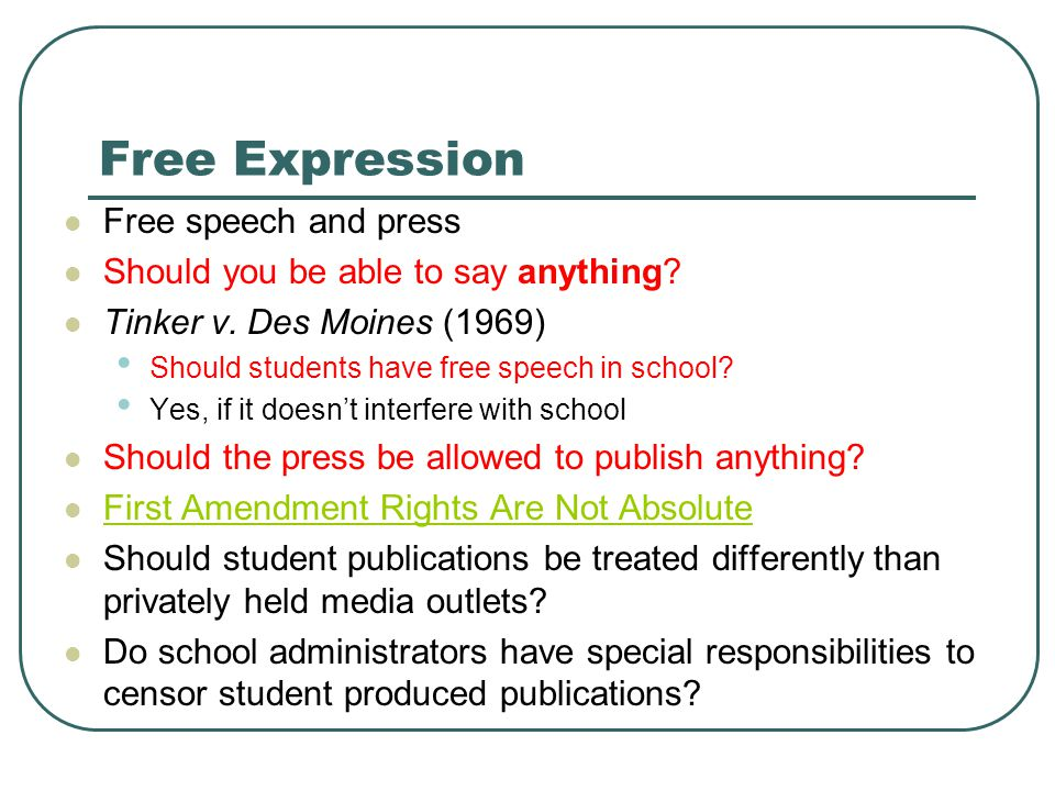 Free Expression Free speech and press