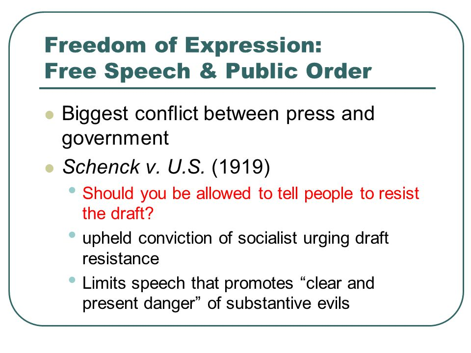 Freedom of Expression: Free Speech & Public Order