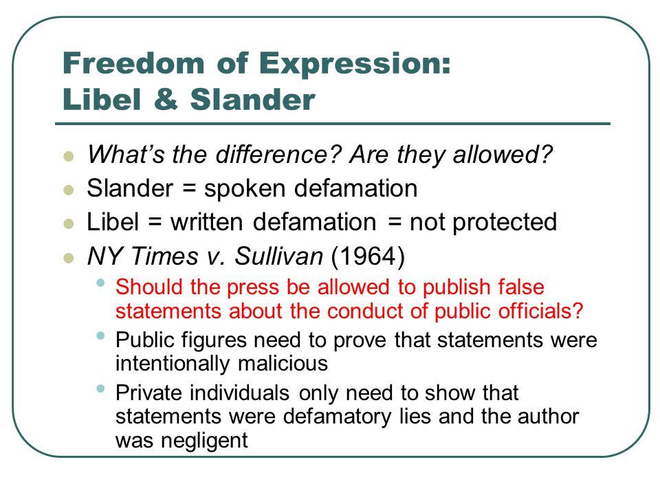 Freedom of Expression: Libel & Slander