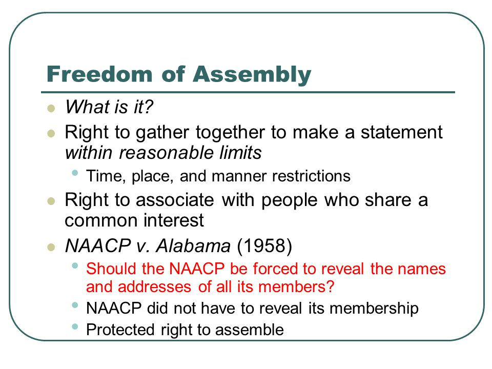 Freedom of Assembly What is it