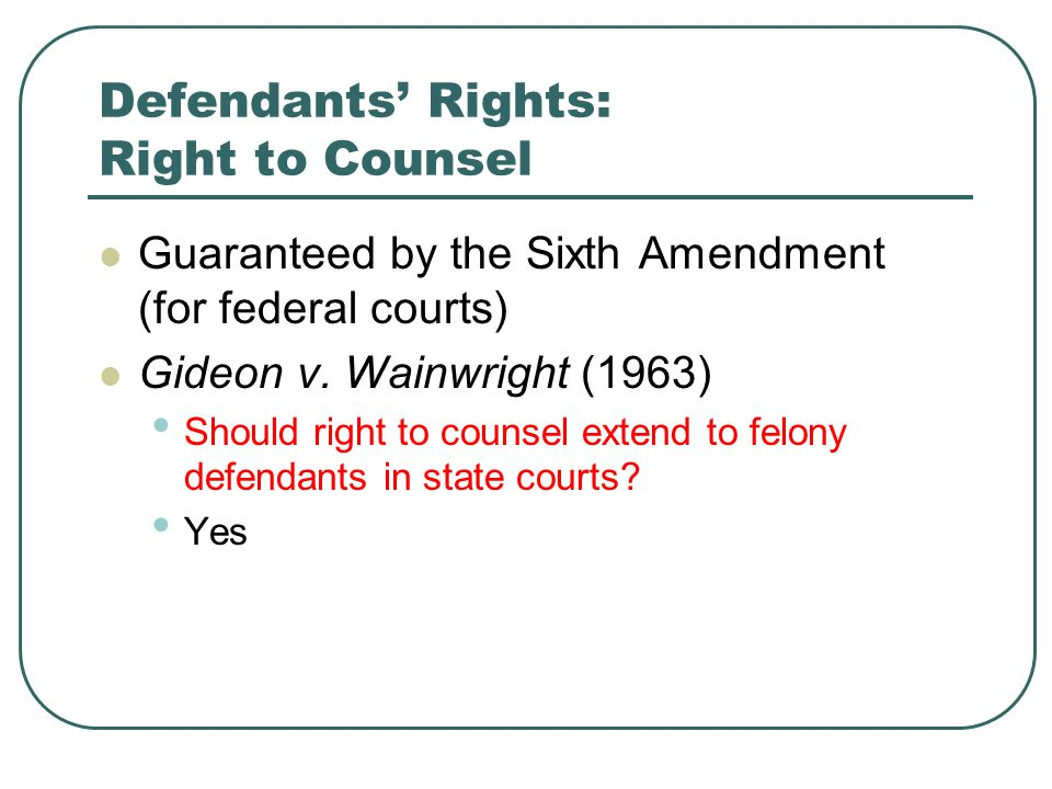 Defendants' Rights: Right to Counsel