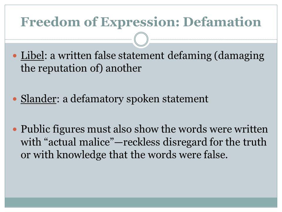 Freedom of Expression: Defamation