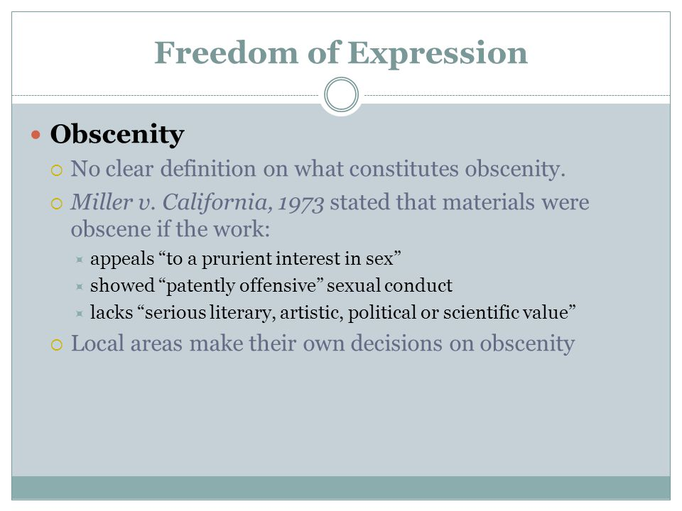 Freedom of Expression Obscenity