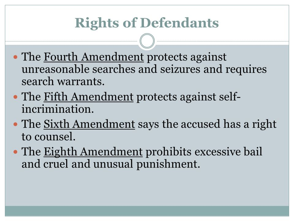 Rights of Defendants The Fourth Amendment protects against unreasonable searches and seizures and requires search warrants.