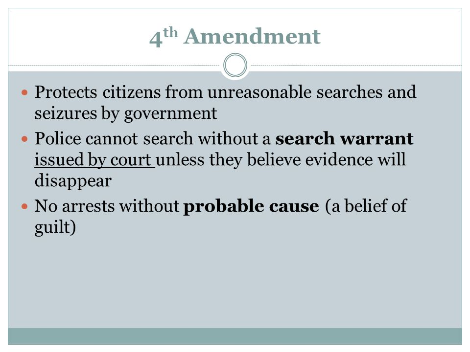 4th Amendment Protects citizens from unreasonable searches and seizures by government.