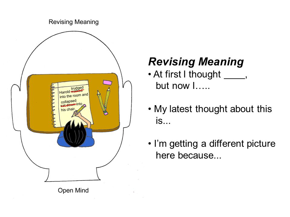 Revising Meaning At first I thought , but now I…..