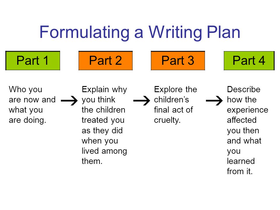 Formulating a Writing Plan