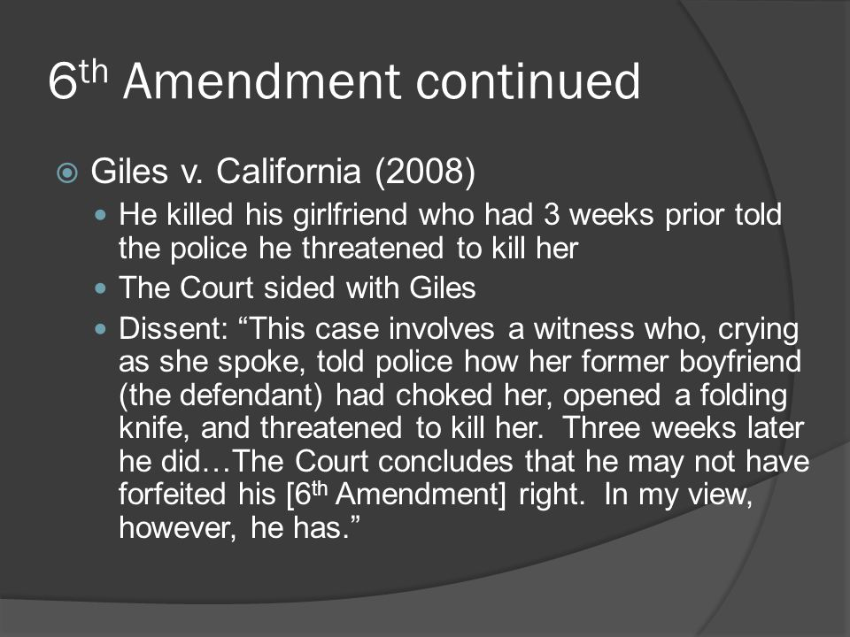 6th Amendment continued