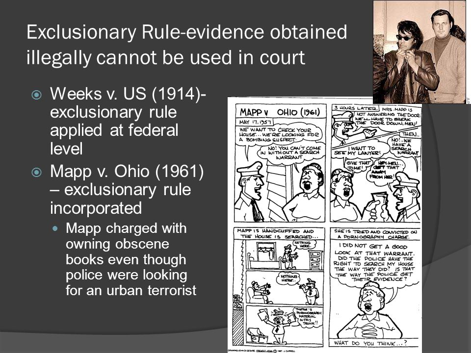 Exclusionary Rule-evidence obtained illegally cannot be used in court
