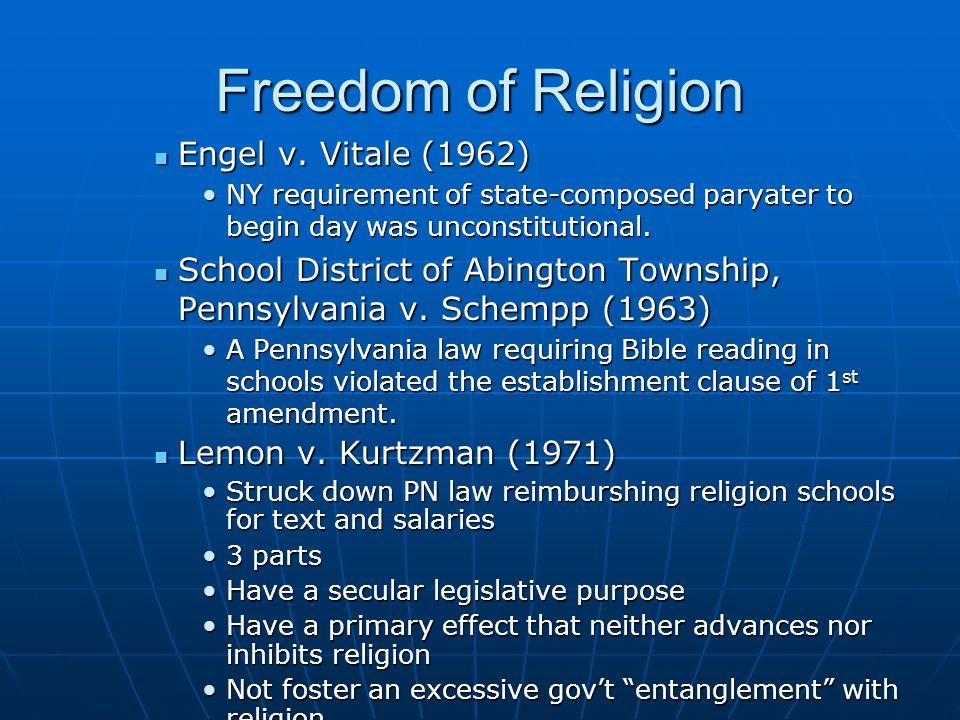 Freedom of Religion Engel v. Vitale (1962)