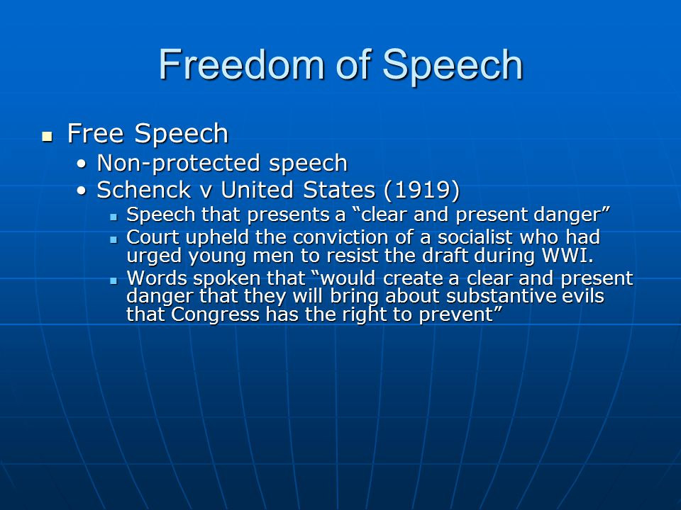Freedom of Speech Free Speech Non-protected speech