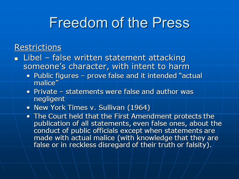 Freedom of the Press Restrictions