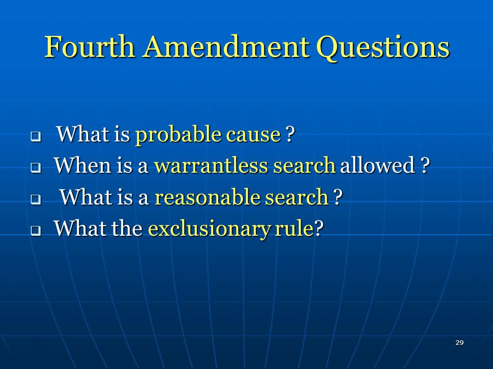 Fourth Amendment Questions