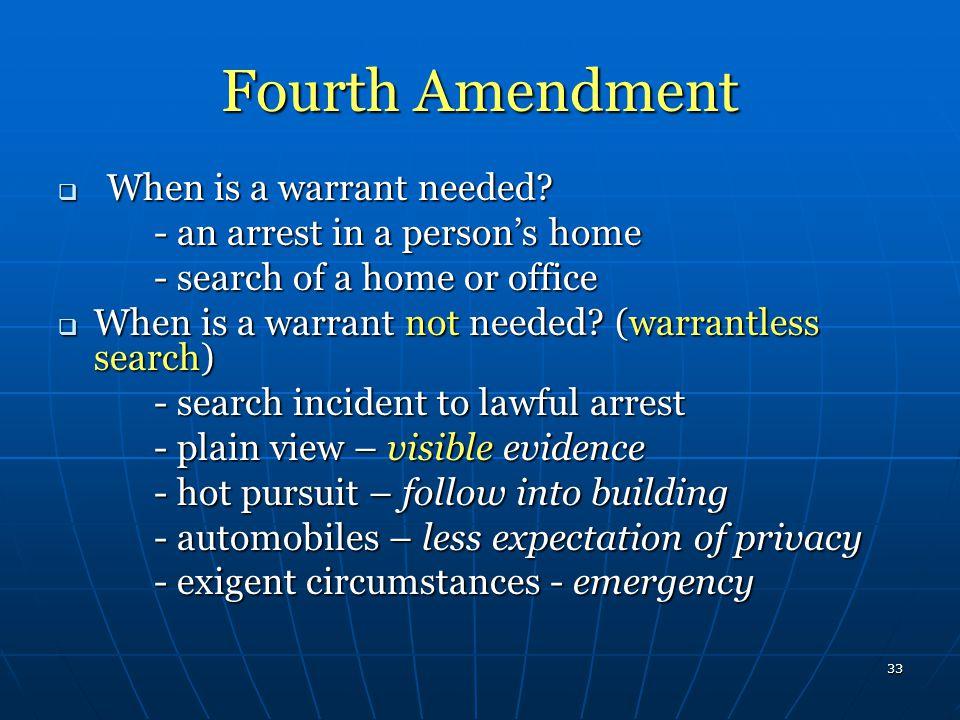 Fourth Amendment When is a warrant needed