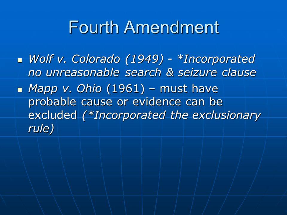 Fourth Amendment Wolf v. Colorado (1949) - *Incorporated no unreasonable search & seizure clause.