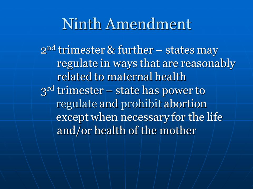 Ninth Amendment regulate in ways that are reasonably