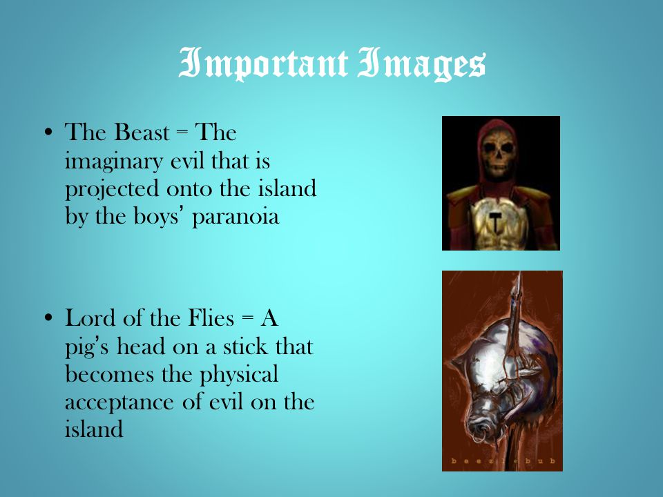 Important Images The Beast = The imaginary evil that is projected onto the island by the boys' paranoia.