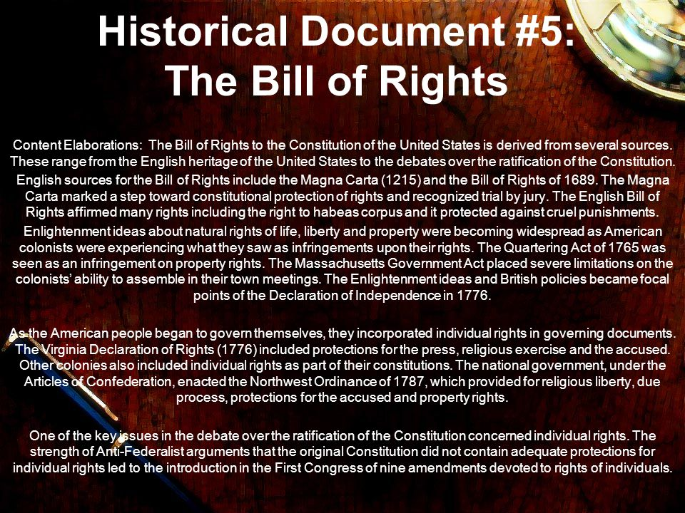 Historical Document #5: The Bill of Rights