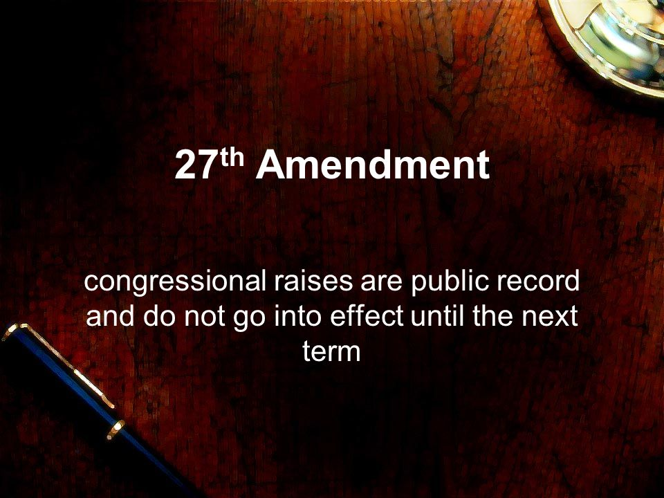 27th Amendment congressional raises are public record and do not go into effect until the next term