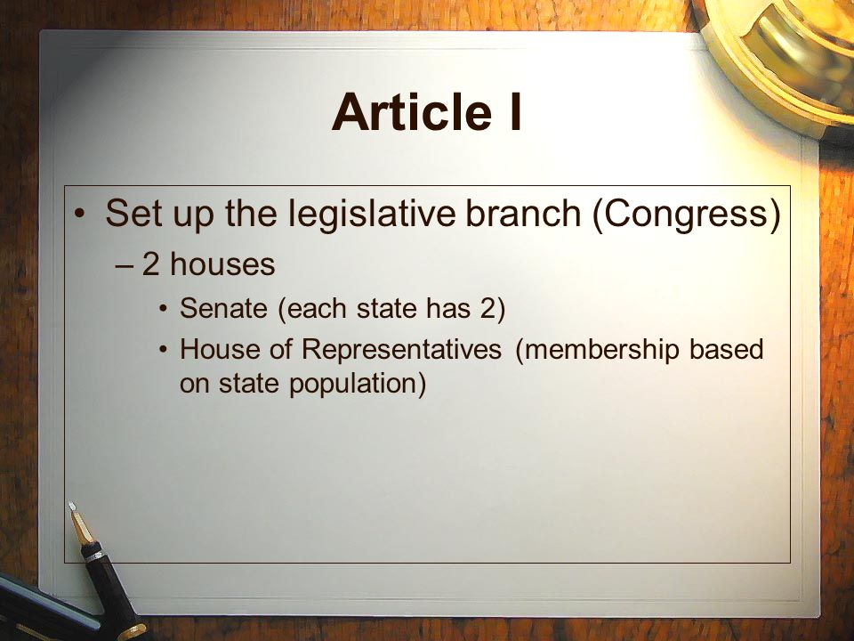 Article I Set up the legislative branch (Congress) 2 houses