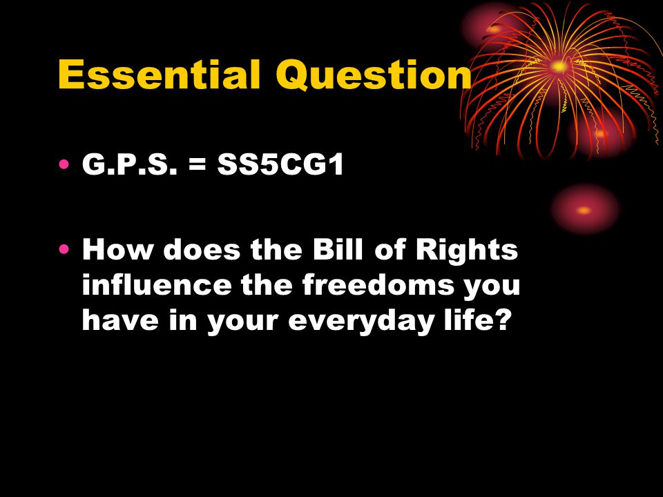 Essential Question G.P.S. = SS5CG1