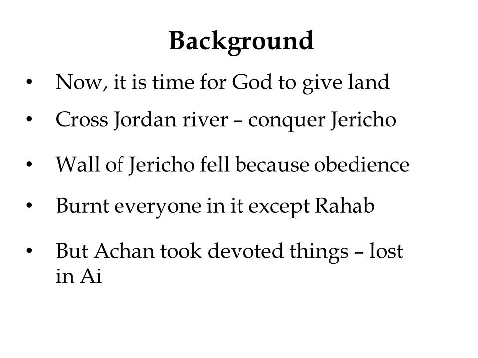 Background Now, it is time for God to give land